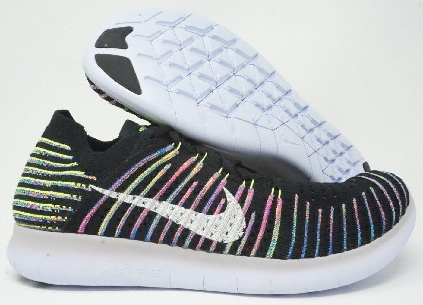 9182c1eeb232f Nike Free Flyknit Mens Running Shoes Black White Blue Size 10.5 Volt ...