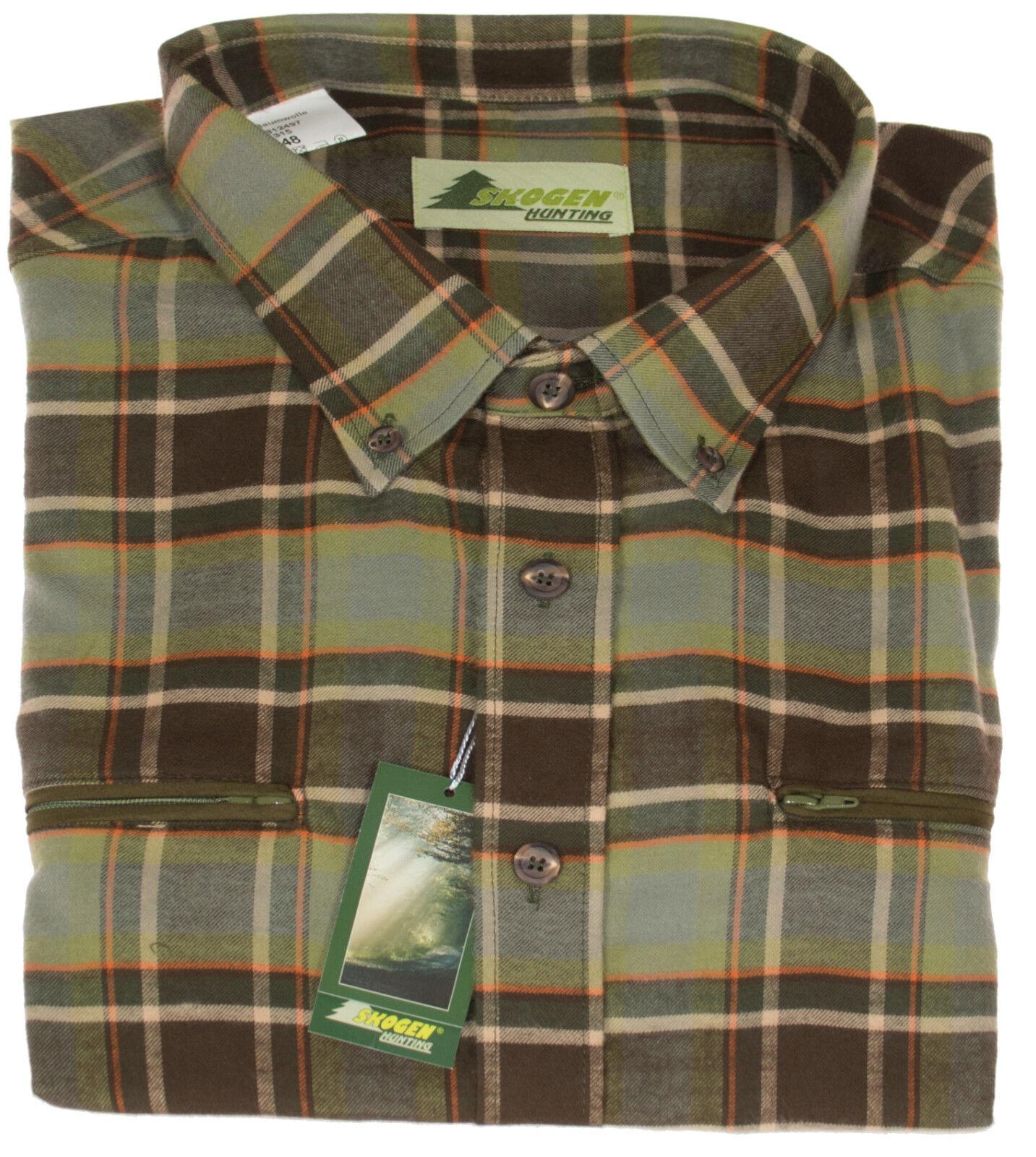 Al aire librehemd caza - & tiempo libre fácilmente camisa de franela verde oliva marrón a cuadros camisa skogen