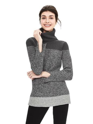 NEW Banana Republic Womens Colorblock Wool Turtleneck Ombre Sweater Grey XL $79