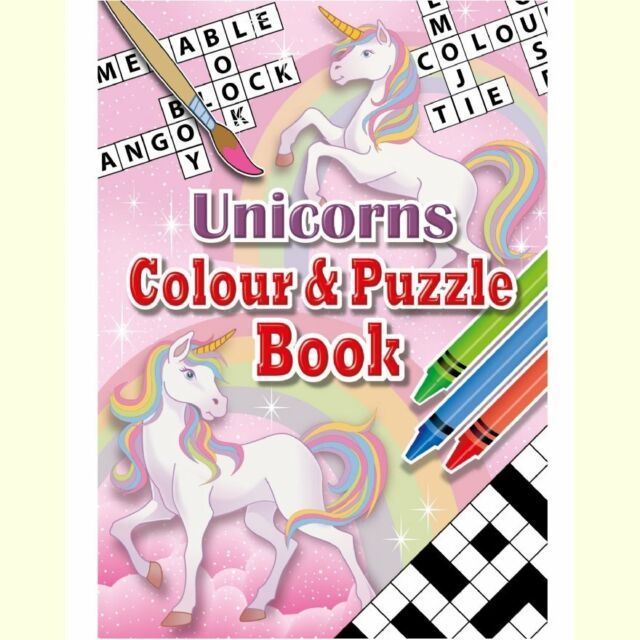 Set of 10 Unicorn Themed A6 Puzzle and Colouring Books - Gift Party  Christmas