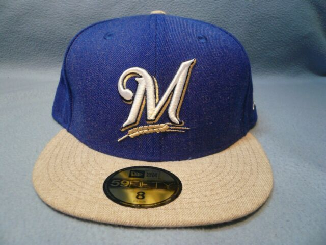 sale retailer d9d3b 253ac ... greece new era 59fifty milwaukee brewers heather action sz 8 brand new  fitted cap hat 32145