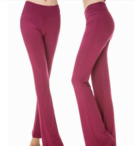 Casual-Women-039-s-Dance-Elastic-Fitness-Pants-High-Waist-Flared-Leg-Yoga-Trousers