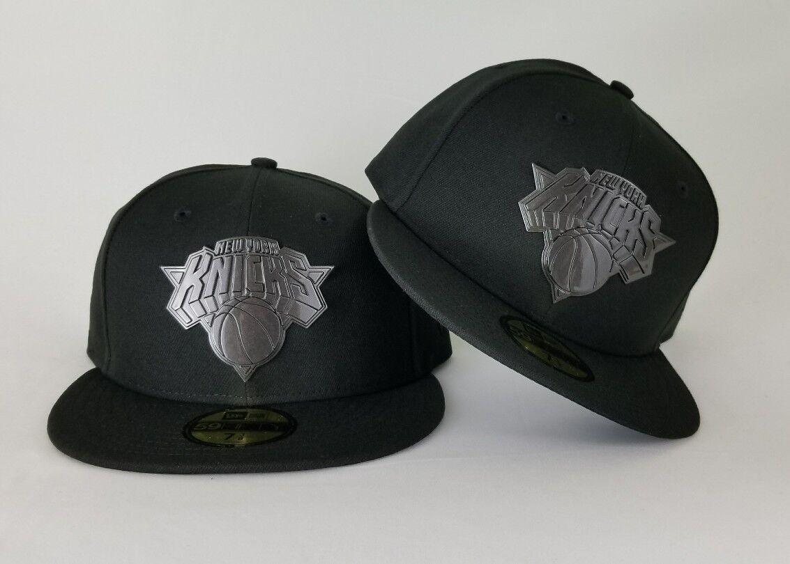 New Metal Era Black On Black NBA New York Knicks Metal New Badge Logo Fitted Hat 2585f5