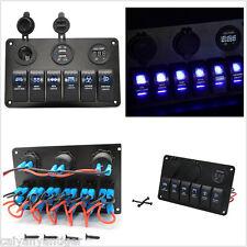 6 Gang Blue LED Rocker Switch Control Panel Circuit Breaker Car Boat Marine RV