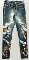 Bejeweled Leggings Jeggings Susan Fixel Butterfly Cherry Blossom 023l Size Xs