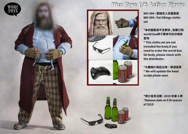 1 6 Scale Woo toys WO-004 Fat Viking  Clothes Head Sculpt Accessory Set  magasin fashional à vendre