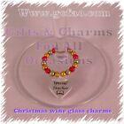 Teacher Teaching Assistant Christmas Wine Glass Charm Present Gift Thank You