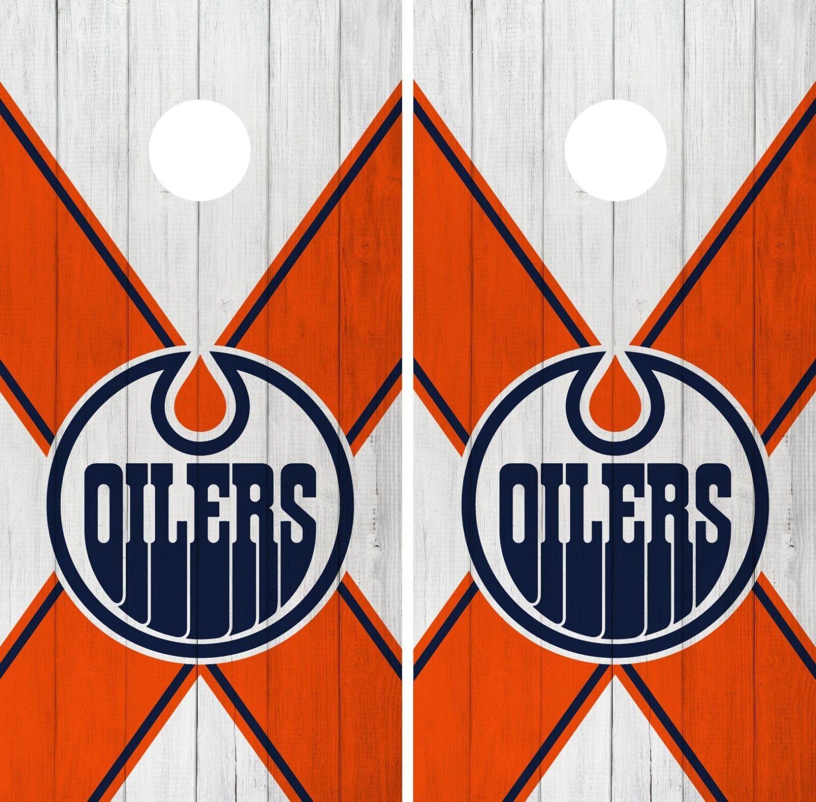 Edmonton Oilers Cornhole Wrap NHL Team Flag Game Skin Set Vinyl Decal CO193