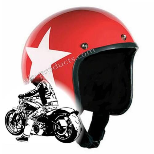 STR STAR RED Bandit Moto Casco Jet ROSSO STELLE BIANCHE piccole costruzione COTONE