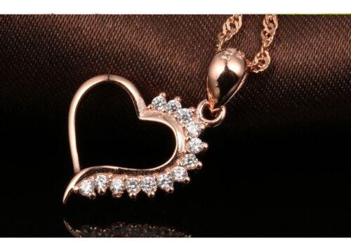 "18/"" Chain 925 Sterling Silver Love Heart Cubic Zirconia CZ Pendant Necklace PE24"