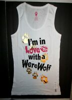 Jerry Leigh Womens White Werewolves Tank Top Shirt Junior Size Small 3/5