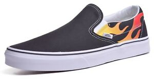 a4a66893ab17 Vans Classic Slip-On Men s Flame Black White Skateboard Shoes Choose ...