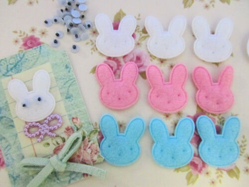 60 Felt Rabbit Applique+Wiggly Eyes//Easter Bunny//Craft//pink//blue//white//Baby H52