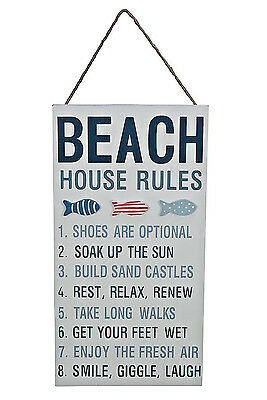 BEACH HOUSE RULES Nautical Wood Wall Sign Plaque Coastal Beach Decor Rope Hanger