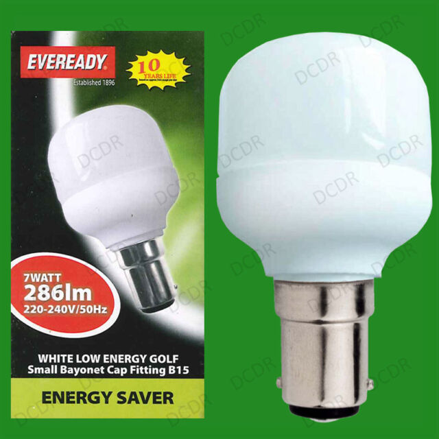 12x 7W Low Energy CFL Mini Golf, 3500K Cool White, Light Bulbs, SBC, B15 Lamps