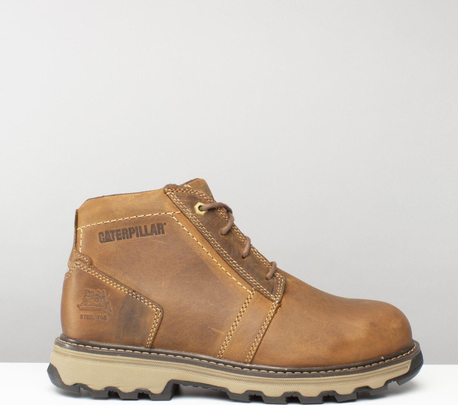 Cat ® PARKER Mens Nubuck S1 SRA Ankle Safety Steel Toecap Work Boots Dark Beige