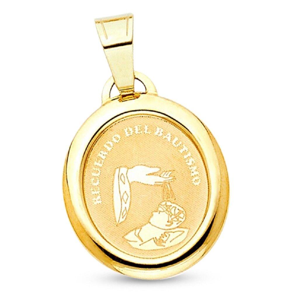 Round Holy Baptism Pendant 14k Yellow gold Solid Christian Charm Polished