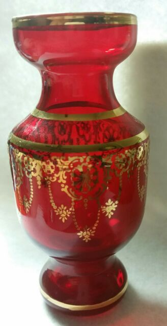 Venitian Red Glass Vase With Gold Trim Vintage Art Glass From