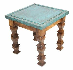 Details About Silver Trails Western End Table 22x22x22 Silver Conchos New Rustic Furniture