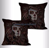 Us Seller- 2pcs Lady Sugar Skull Day Of The Dead Dia De Los Muertos Couch Pillow