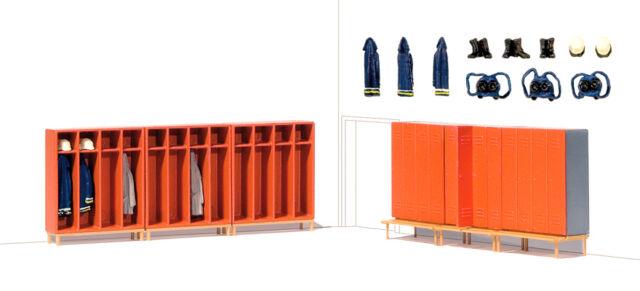 Preiser 17708 Feuerwehrspinde 6 Stück mit Zubehör