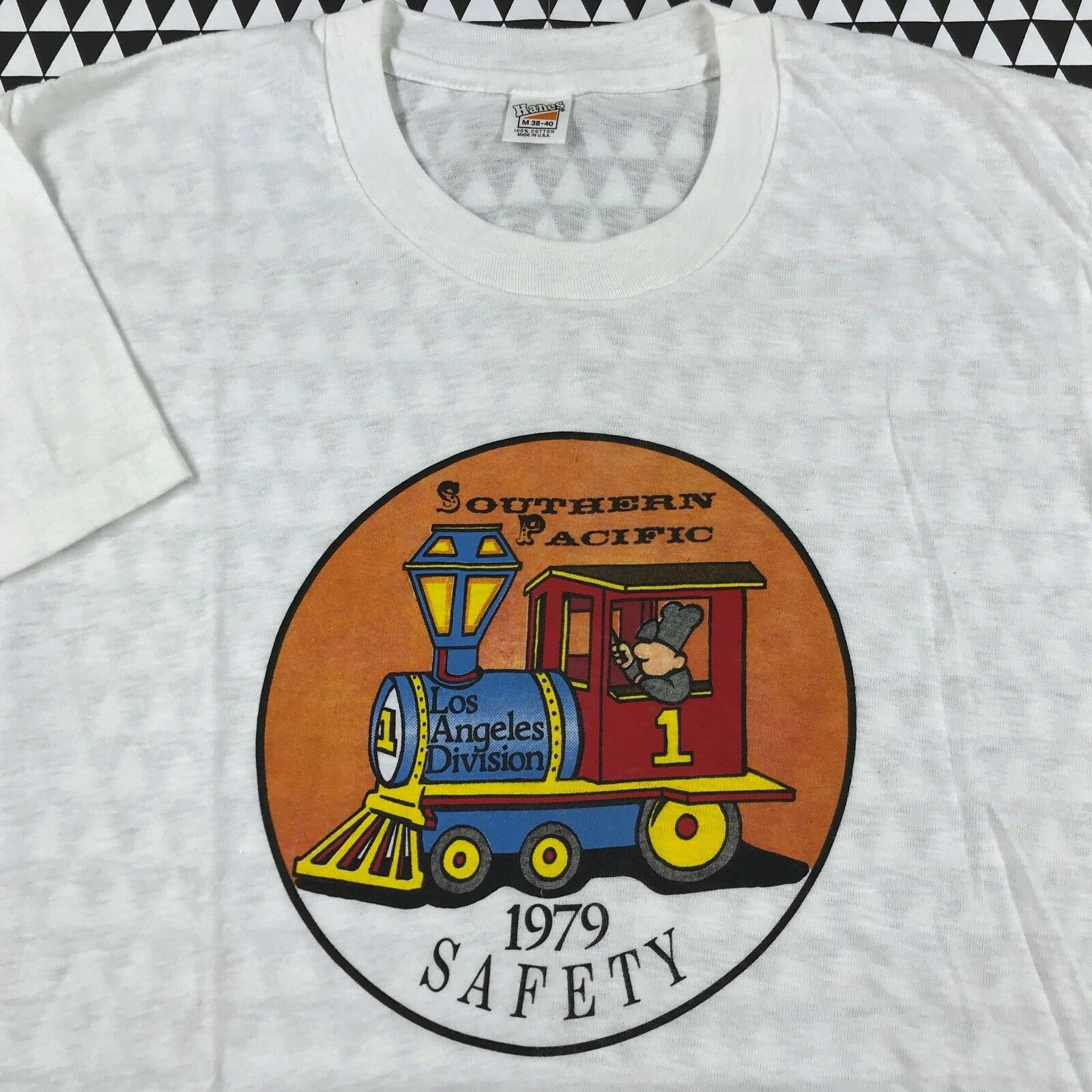 NWOT Vintage 1979 SOUTHERN PACIFIC SAFETY T-Shirt S M LOS ANGELES DIVISION 70's