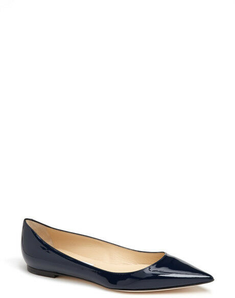 Auth Jimmy Choo Alina Navy azul 6.5 36.5 patent pointed toe ballet flat zapatos