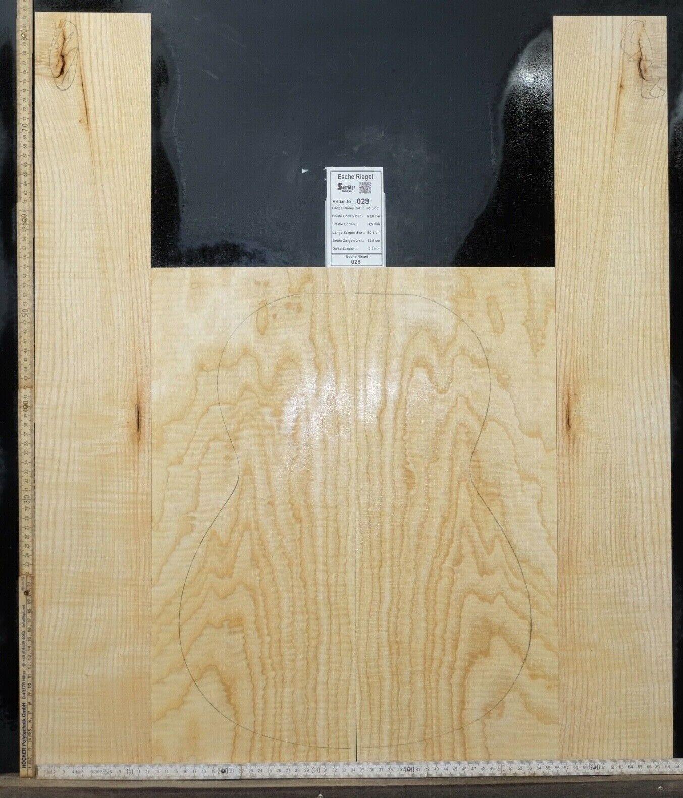 Tonewood Esche Ash Tonholz Guitar Builder Luthier Acoustic Backs Side Curly 028