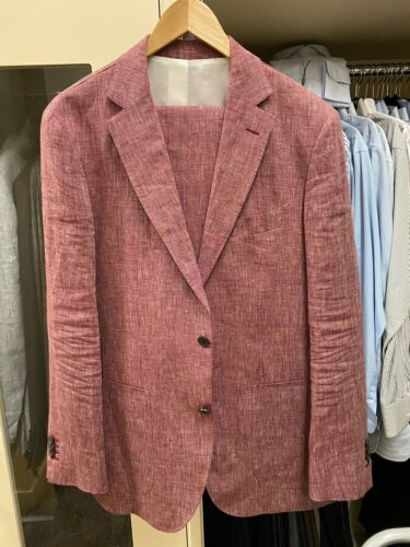 Red Linen Mens 40R Suit By Suit Supply