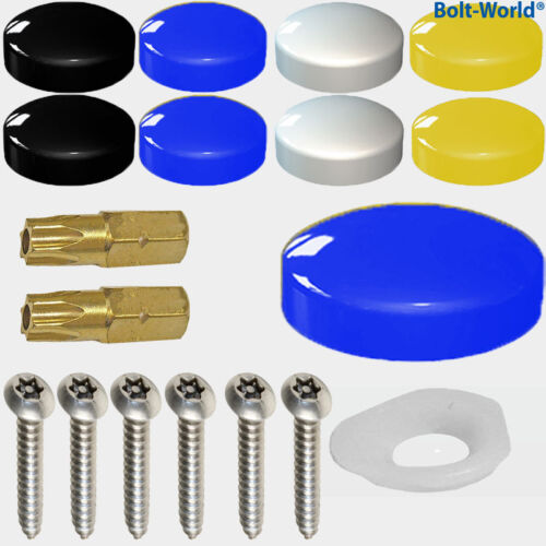 1000 x NUMBER PLATE FIXING SECURITY SCREWS COVER KIT BLACK WHITE YELLOW CAPS