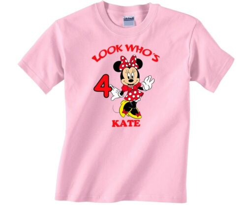 Minnie Mouse Personalized Custom Birthday Shirt in 8 Different Colors