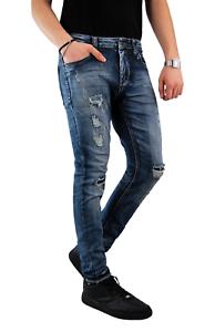 Jeans-Uomo-Slim-Fit-Pantalone-Strappati-Elasticizzato-Casual-Blu-scuro-chiaro