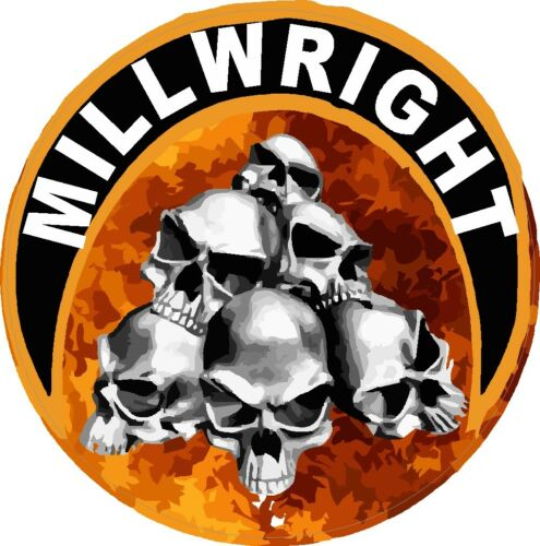 Millwright with flames and skulls sticker CMW-17