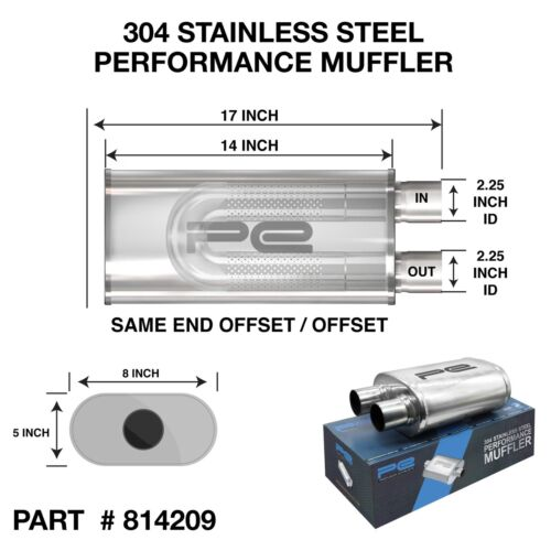 """2.25/"""" 57mm 5/""""x 8/"""" Oval x 14/"""" O//O Profusion 304 Stainless Steel Exhaust Silencer"""