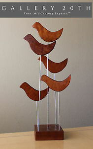 EPIC! MID CENTURY MODERN ABSTRACT TEAK SCULPTURE! VTG 50'S 60'S ART BIRDS RETRO