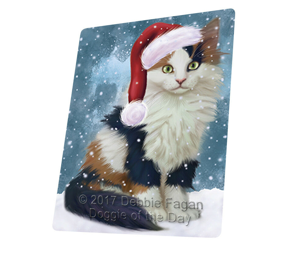 Let it Snow Christmas Holiday Calico Kitten Dog Woven Throw Sherpa Blanket T68