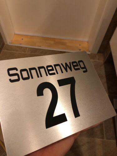 Hausnummernschild Hausnummer Edelstahl Design mit