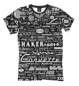 Car Brands Starting With T >> Details About Car Brands T Shirt All Over Print Design Tee Auto Marks Retro Vehicle