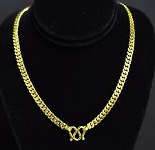 999.9 24K Solid Flat Curb Link Handmade Chain Necklace Yellow Gold 55.10 grams