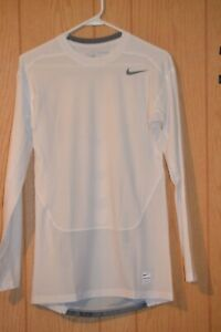 NEW Nike Drifit Compression Long Sleeve Tee Shirt White 677920-100 M Medium L/S