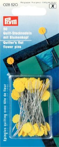 Prym 50 unidades de Quilt alfileres con flores cabeza larga y finamente 028520