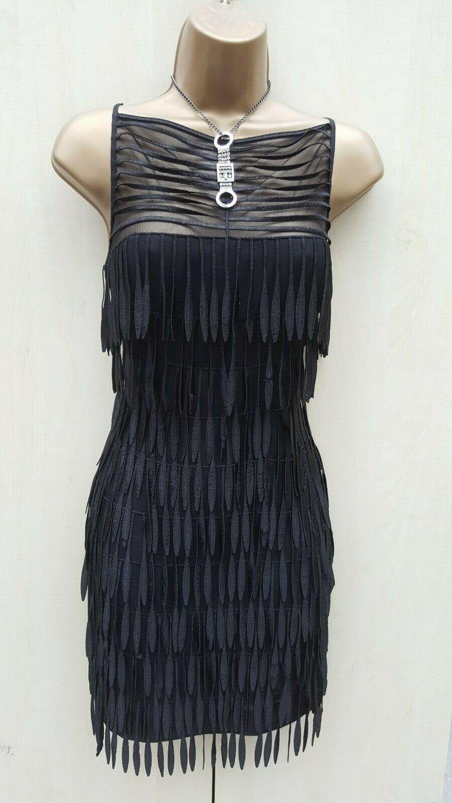 KAREN MILLEN schwarz Silk Art Deco Fringe Gatsby Flapper Cocktail Dress