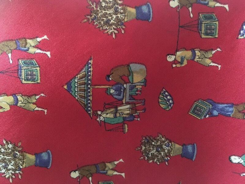 Ferragamo Elegant Necktie Silk Chinese Motifs Red High NP!
