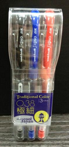 3x Mitsubishi Uni-ball SIGNO DX Pens Black Blue Red 0.38mm Uniball Japan UM-151