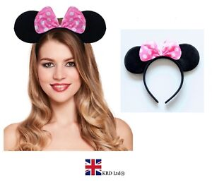 PINK-MINNIE-MOUSE-EARS-HEADBAND-Fancy-Dress-Disney-Spotted-Bow-Ladies-Kids-UK
