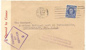 AU-AUSTRALIA-1944-George-VI-3-1-2D-single-postage-on-superb-censor-cover-to-USA
