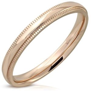 Rose-Gold-PVD-Half-Round-Wedding-Ring-Surgical-Steel-Comfort-Fit-Select-Size