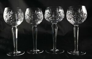 Four-Stunning-Vintage-tall-Lead-Crystal-glasses-hock-wine-champagne