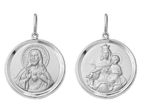 2,6 grams Catholic 18k White Gold Scapular Round Medal Medium