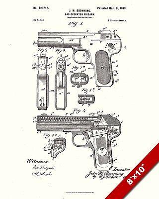 Colt 1911 Official US Patent Art Print Firearm Browning Gun 45 cal Pistol 8